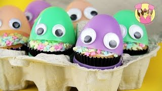 SURPRISE EASTER EGG CUPCAKE CREATURES - Easy Treat For Your Easter Party Or Friends At School
