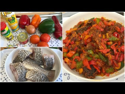 HOW TO MAKE FRIED CROAKER  IN TOMATO SAUCE AND MIXED PEPPER
