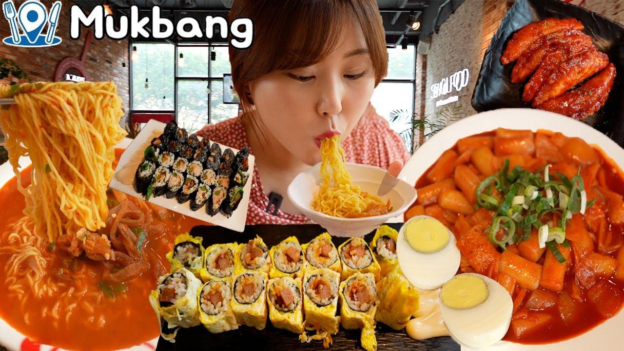 스쿨푸드 먹방 (스팸계란마리, 길거리떡볶이, 장아찌 찌개라면) Mukbang
