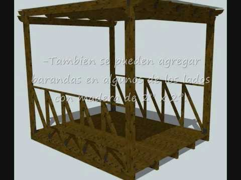 Como hacer una pergola quincho o galer a abierta de - Como construir una pergola de madera ...