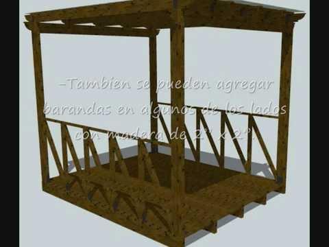 Como hacer una pergola quincho o galer a abierta de madera youtube - Como fabricar una pergola ...