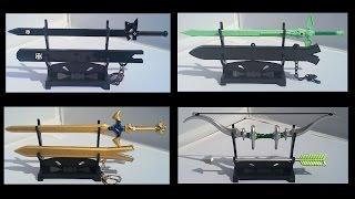 Sword Art Online - Weapons Collection Part 1 - Dark Repulsor, Elucidator, Excalibur, Bow