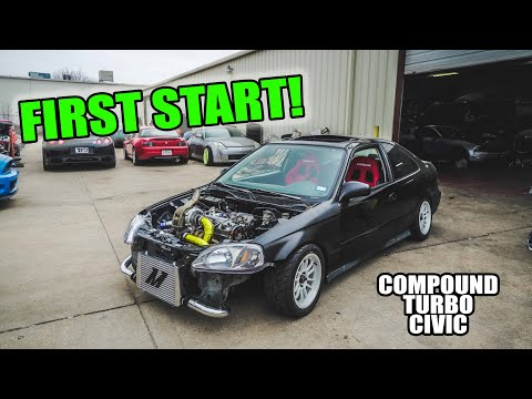 TWIN-TURBO CIVIC *FIRST START!!* - World's FIRST Compound Turbo D16 Civic