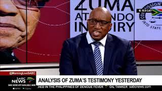 Analysis of Zuma's testimony on second day