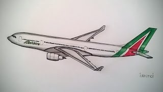 Alitalia, Airbus A330, Drawing timelapse