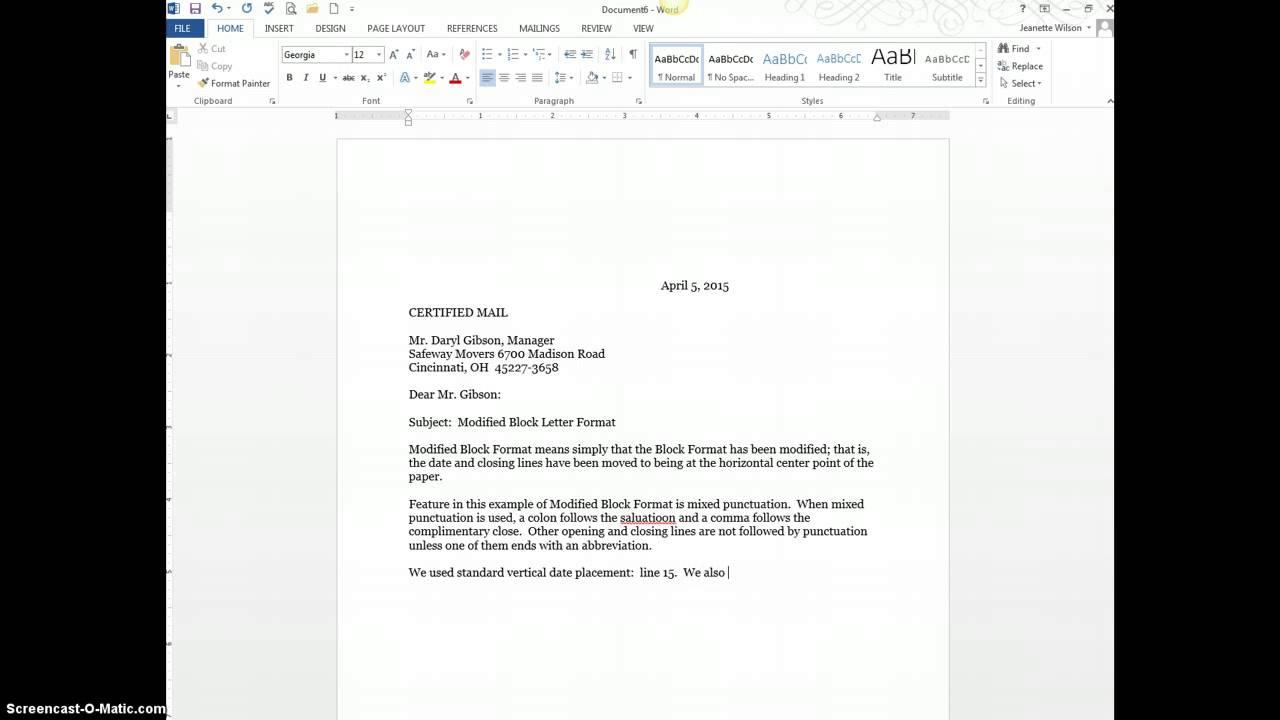 standard block style business letter