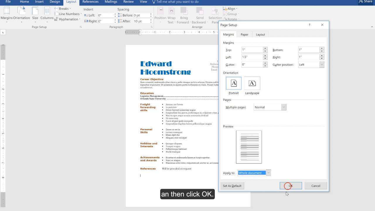 how to modify margins in a microsoft word resume template