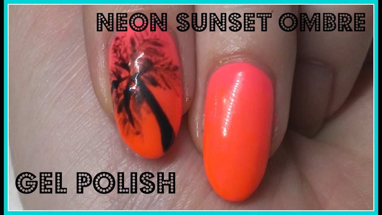 Nail Art   Neon Sunset Ombre   Gel Polish - YouTube