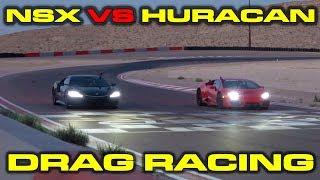 2017 Acura Nsx Vs Lamborghini Huracan Lp580-2 Drag Racing At Speed Vegas