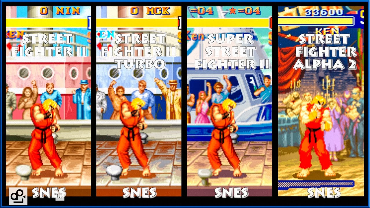 Street Fighter Ii Ken Graphic Evolution 1992 1996 Super Nintendo Snes Youtube