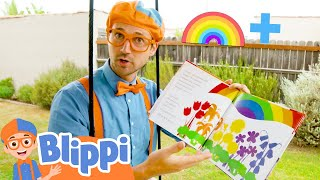 Blippi Learns Colors Of The Rainbow With The Penguins Love Colors Book | Educational Videos For Kids