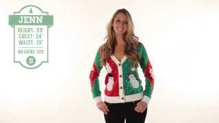 Tacky Christmas Sweater - Dancing Snowmen Cardigan with Elbow Patches by Tipsy Elves