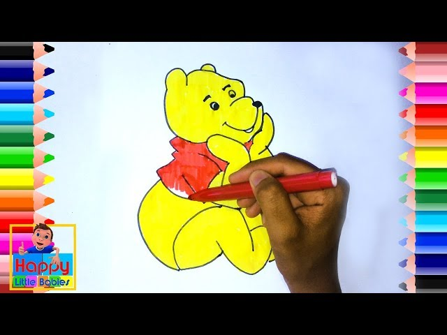 How to Draw Disney Winnie the Pooh Bear Cute and Easy   Disney Cartoon Drawing  Happy Little Babies