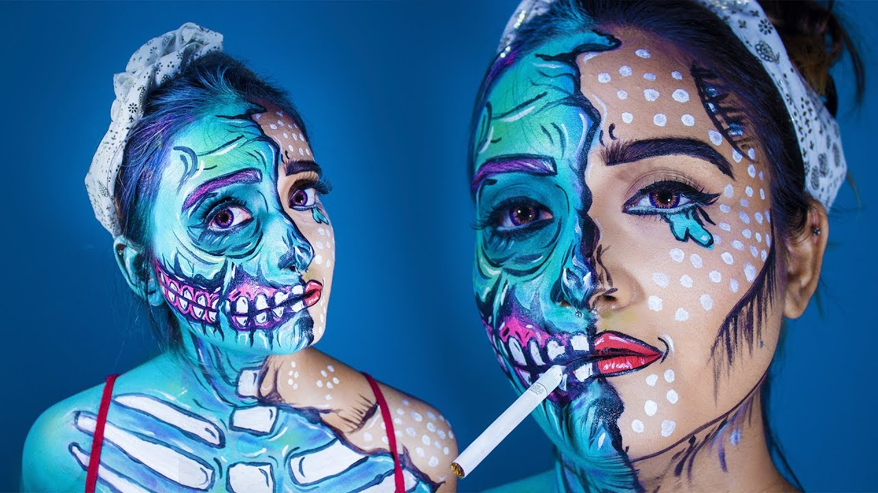 Pop Art Pin Up Zombie Body Paint I Makeup Tutorial Youtube