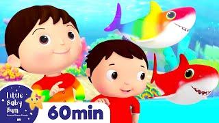 Baby Shark Dance - Rainbow Shark | More Nursery Rhymes | ABCs and 123s | Little Baby Bum