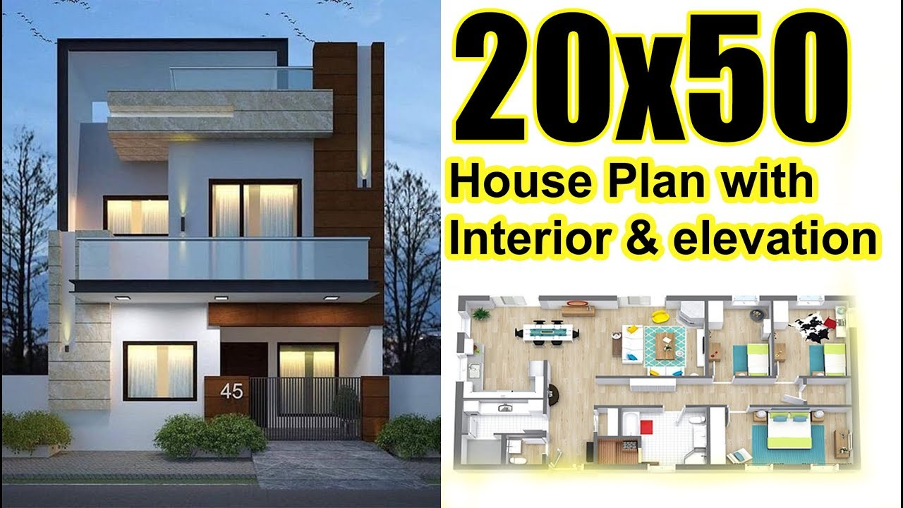 20x50 house plan with interior elevation