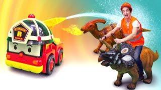 Машинки Робокар Поли и ДИНОЗАВРЫ Коллекта (Collecta) в городе Брумс. ДРАКА ДИНОЗАВРОВ!