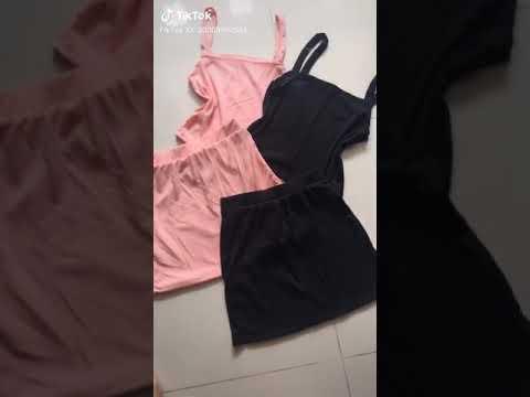 Set áo Croptop Hai Dây Kèm Chân Váy Chữ A - Hany Shop