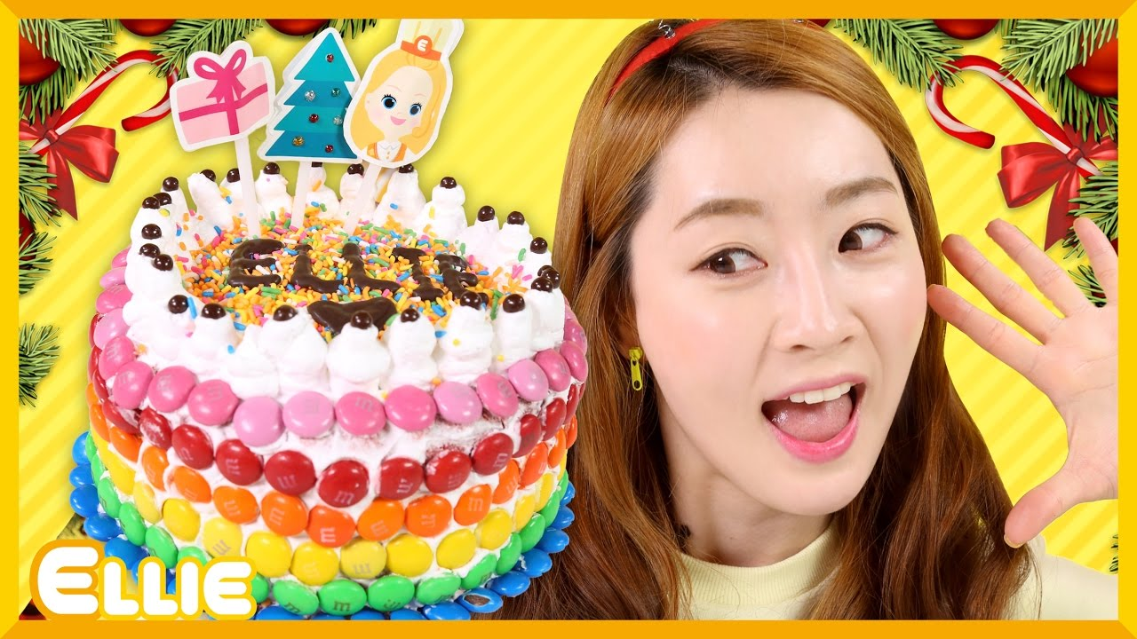愛麗的聖誕節巧克力豆彩虹蛋糕制作遊戲 | 愛麗和故事 EllieAndStory - YouTube