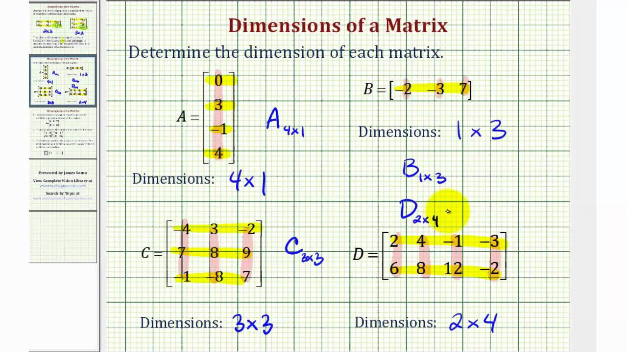 Dimensions Of A Matrix Youtube