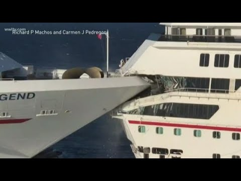 Carnival cruise ship crashes into another ship while docking; 6 injured
