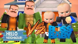 Minecraft - HELLO NEIGHBOR Vs BOSS BABY w/ Tiny Turtle, Scuba Steve & Baby Max MODDED MINI GAME