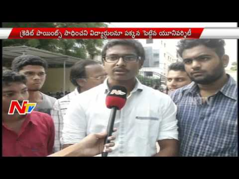 Detained Students and Parents protests at JNTU in Hyderabad