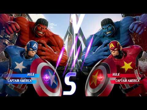 Red Hulk And Captain America Vs Blue Hulk And Red Captain America - MARVEL VS. CAPCOM: INFINITE