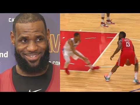 LeBron James reacts to James Harden Breaks Wesley Johnson's Ankles with Amazing Crossover