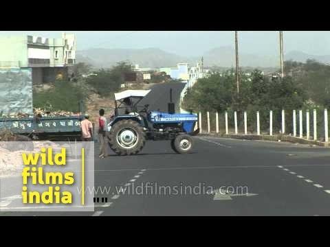 Tractor blocks road to Bhuj Airport, Gujarat