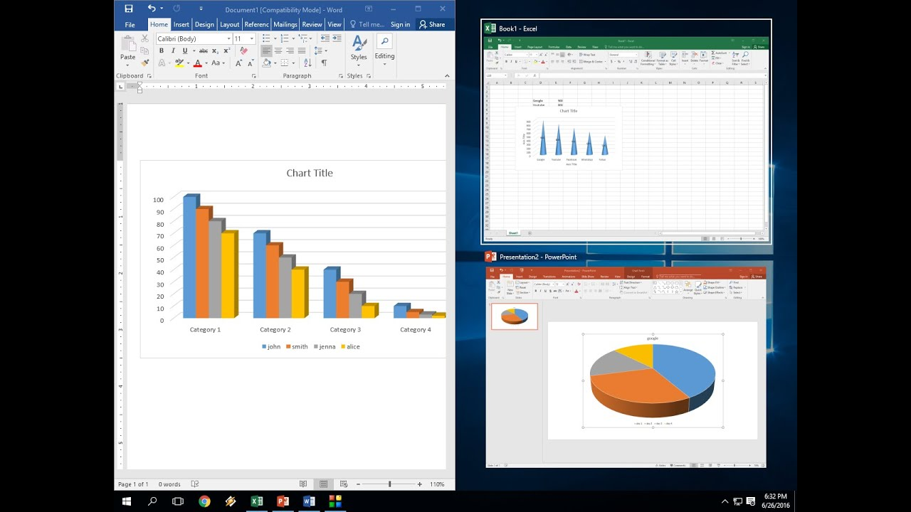 How to insert chart in ms excel powerpoint word easy steps youtube