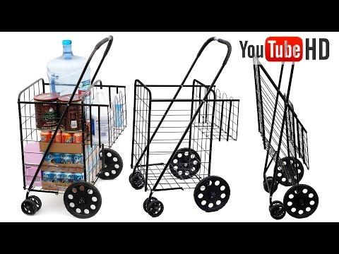 Tv Host Bill Confidence Live Presents OxGord Folding Shopping Cart w/Double Basket, Jumbo 150lbs