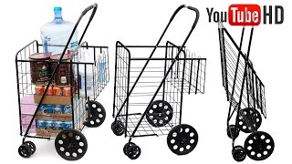 Tv Host Bill Confidence Live Presents OxGord Folding Shopping Cart w/Double Basket, Jumbo 150lbs