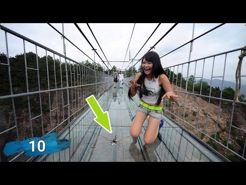 Top 10 Glass Bridges Funny Moments on Glass Walkway China