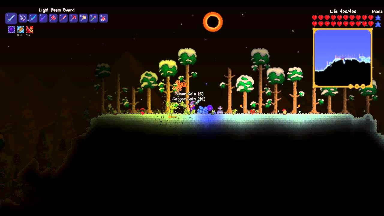 Terraria Extended Solar Eclipse Youtube A solar eclipse is an event that has a 1/20 or 5% chance of replacing a regular day when hard mode is active in a world or can also be manually summoned by using the solar tablet. terraria extended solar eclipse