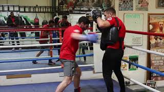 TOMMY COYLE SMASHES THE PADS WITH TRAINER JAMIE MOORE AHEAD OF SEAN DODD FIGHT - APRIL 21