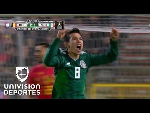 Así fue el partidazo del 'Chucky' Lozano en el empate contra Bélgica