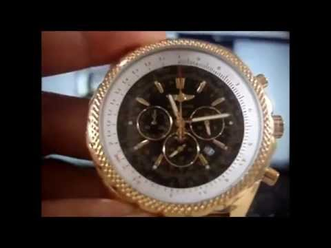 dc66d62f05c Relógio Breitling Bentley 1884 Dourado Preto - YouTube