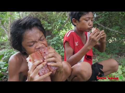 Primitive Technology – Eating delicious – Grilled Pork Belly Cooking In Jungle #164