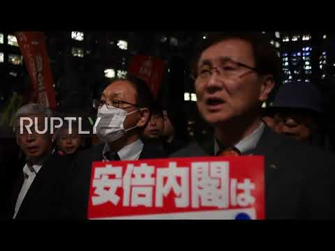Japan: Demonstrators call on Abe to resign as corruption scandal unravels