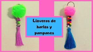 LLAVEROS CON BORLAS Y POMPONES / DIY manualidades faciles / Ideas día de las madres