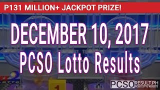 PCSO Lotto Results Today December 10, 2017 (6/58, 6/49, Swertres, STL & EZ2)