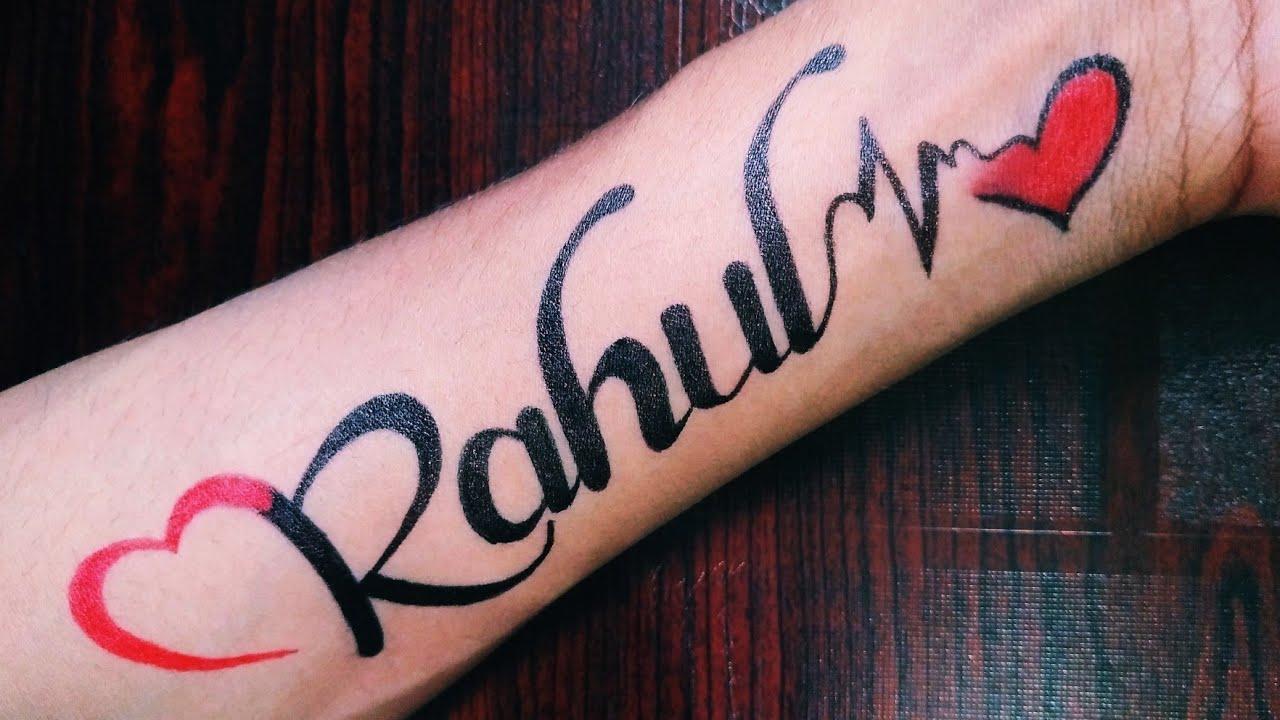 How To Make Rahul Name Tattoo With Heart Rahul Name Ka Tattoo Youtube