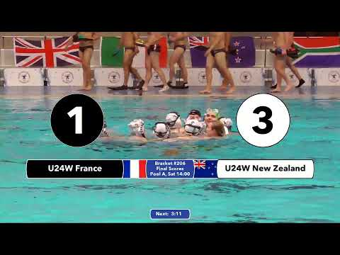 Game 206  (NZL vs FRA U24W) ENGLISH- 5th CMAS Underwater Hockey Age Group Worlds - Sheffield, UK