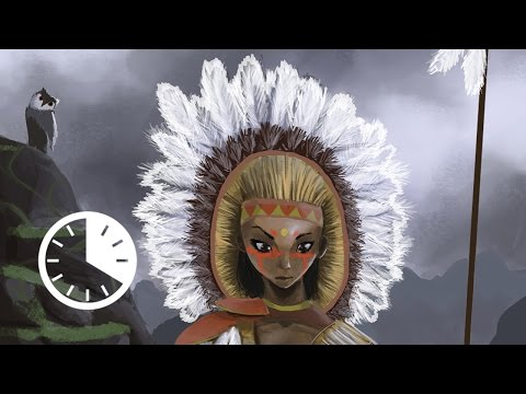 Foreign Sword - Photoshop Digital Painting Timelapse - Female Native American Character Design