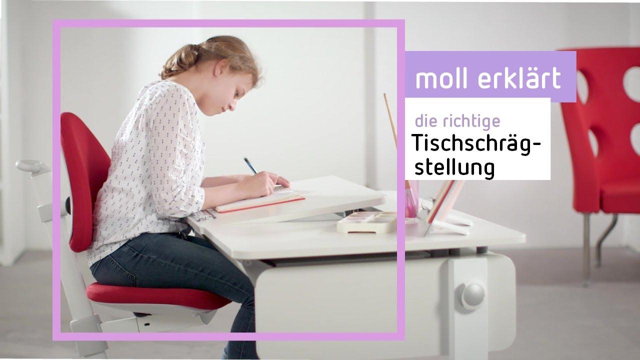 Schrägstellbarer Kinderschreibtisch Moll Champion Richtig