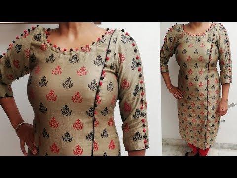 Latest designer kurta cutting and stiching /attach underground potli buttons in neck thumbnail