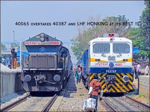 4B overtakes 4D 'PRATAP', ear deafening LHF HONKing bonanza : Indian Railways !!
