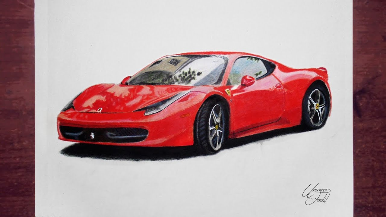 Drawing cars 2 - Ferrari - Prismacolor pencils - YouTube