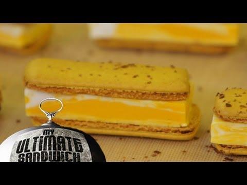 Mango & Coconut Ice Cream Macaron Sandwich